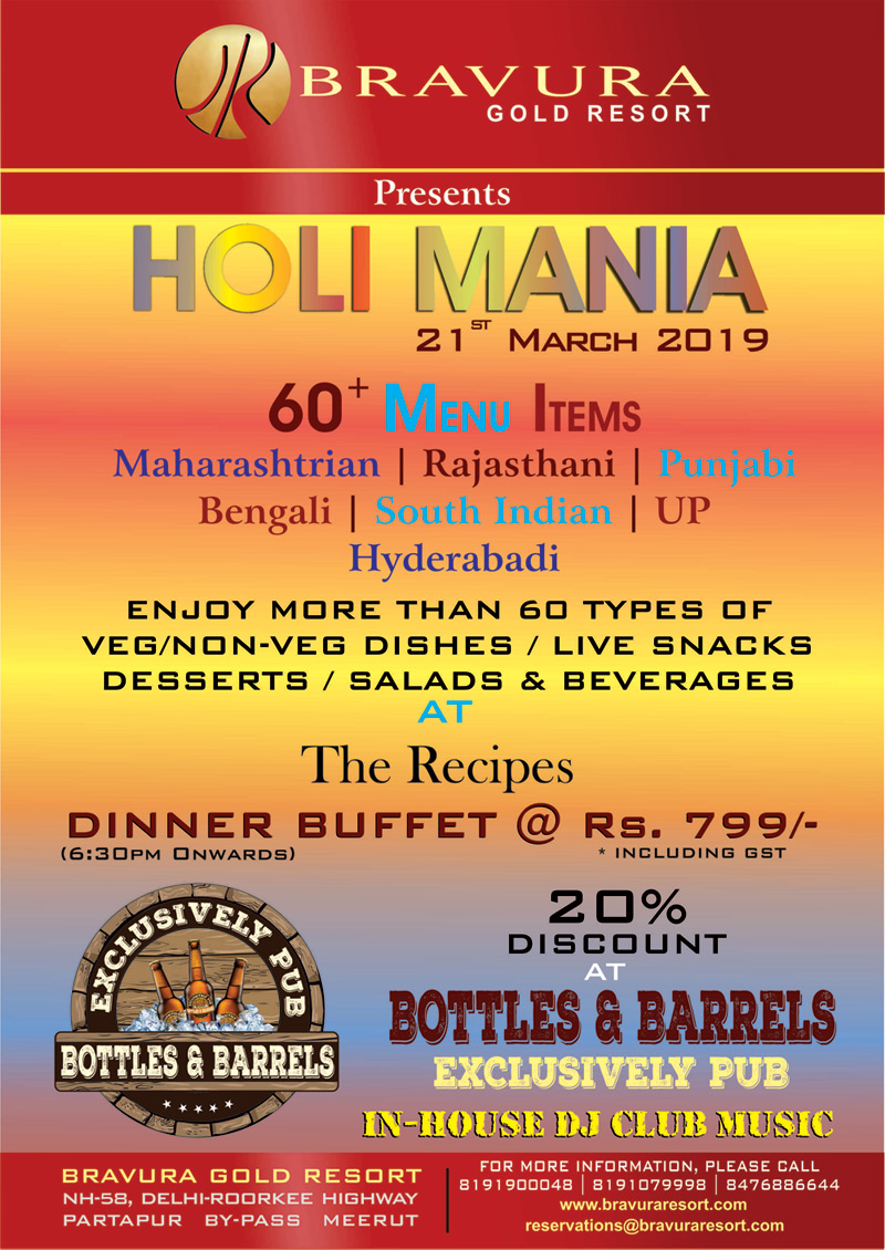 Bravura Gold Resort Presents HOLI MANIA on 21st March, 2019