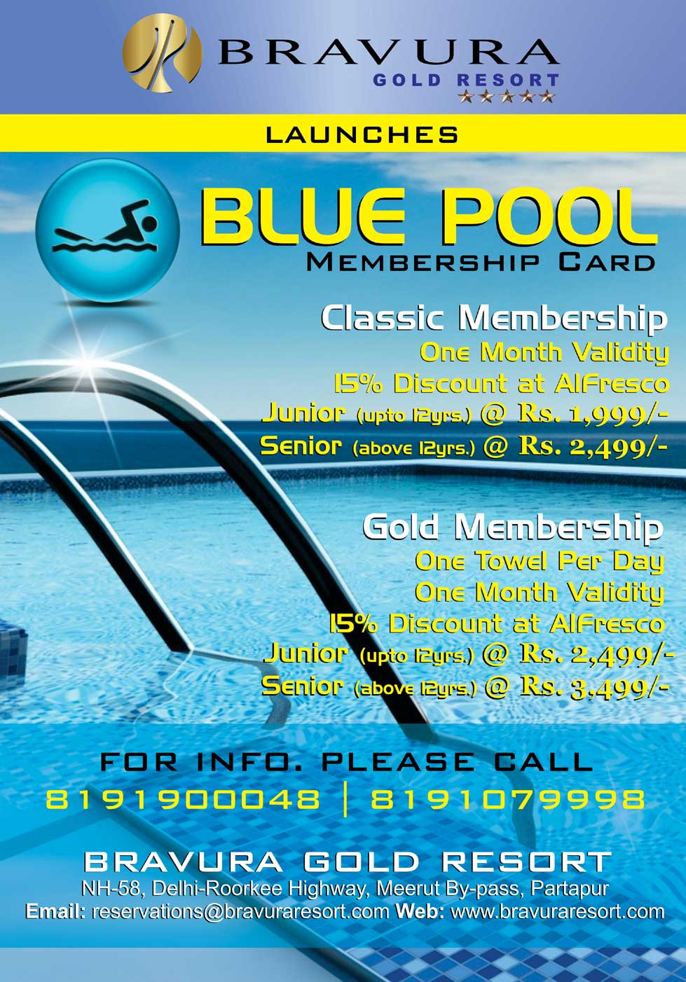 Beat the Heat with Blue Pool Membership at Bravura Gold Resort!!!