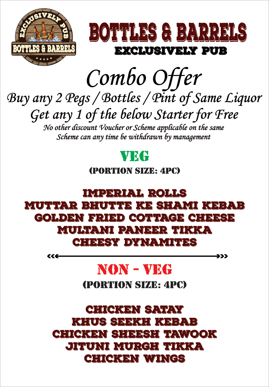 Enjoy Combo Offers at Bottles & Barrels (Exclusively Pub).